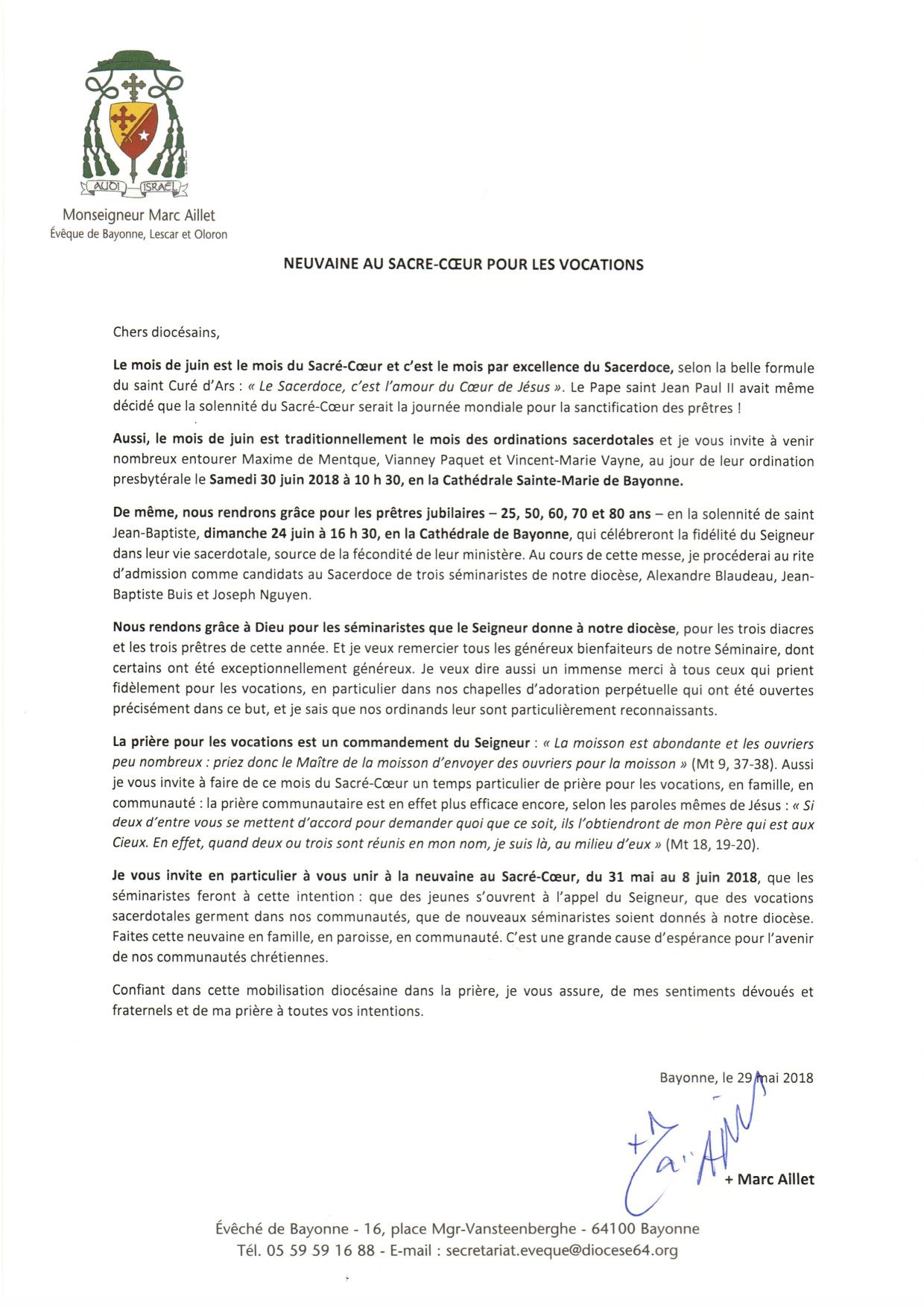 Message de Mgr Aillet - Neuvaine Sacré Cœur