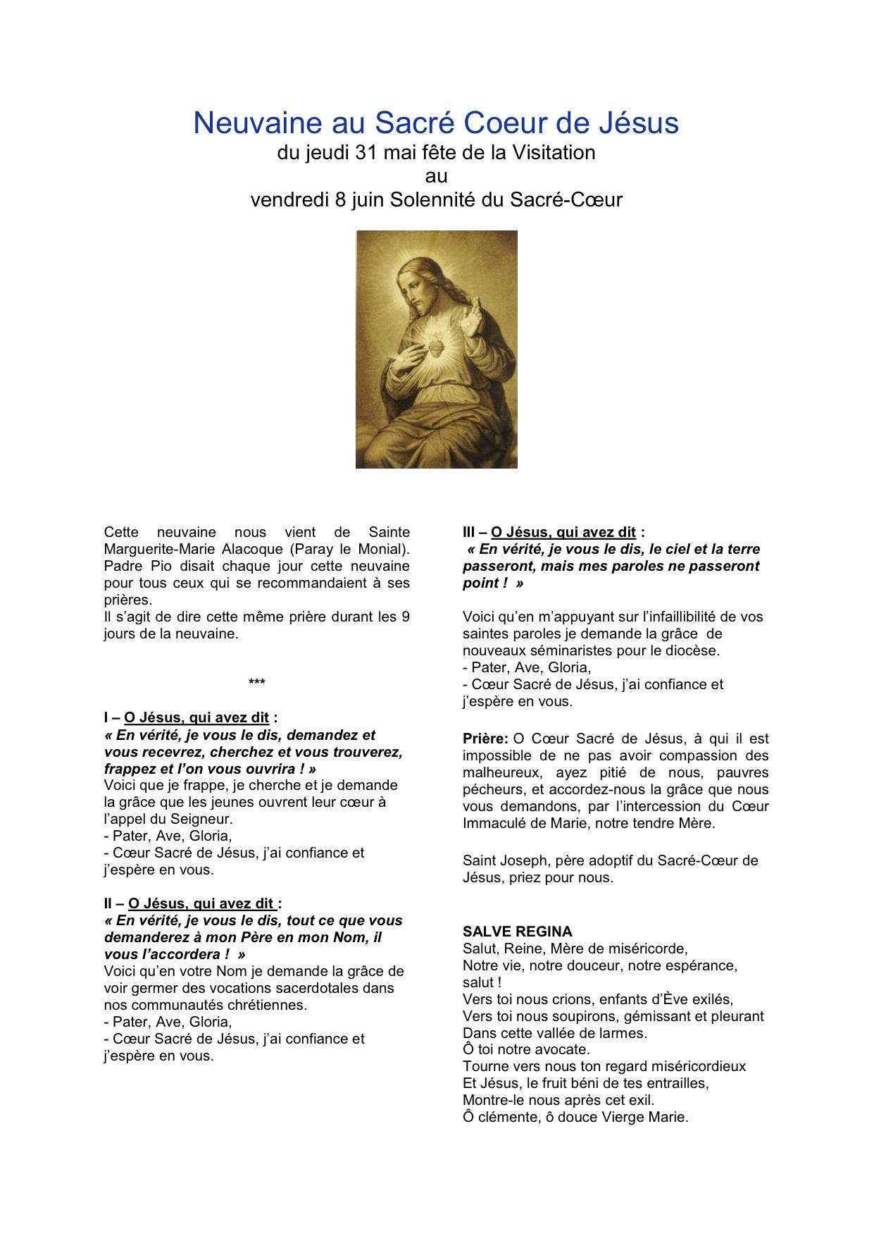 Prière de la Neuvaine au Sacré Cœur